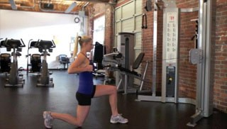Picture of a female doing Reverse Lunge with Row Exercise