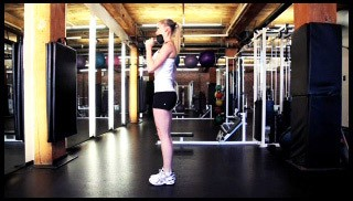 reverse lunge with shoulder press - step 1