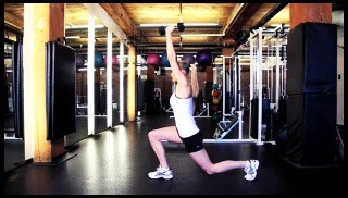 Picture of a female doing Reverse Lunge with Shoulder Press Exercise