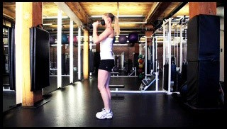 reverse lunge with shoulder press - step 3