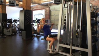 Picture of a female doing Seated Lat Pull Down Exercise
