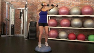 Picture of a female doing Shoulder Raise on Bosu Exercise