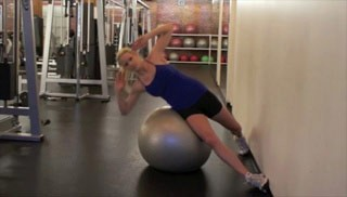 side crunches with stability ball - step 1