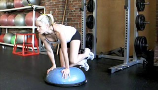 side glute kick-outs on bosu - step 1