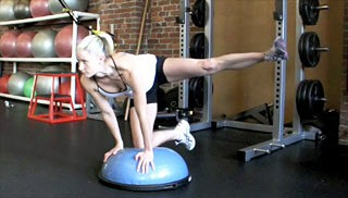 Picture of a female doing Side Glute Kick-Outs on Bosu Exercise