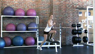 side lateral shuffle on bench - step 3