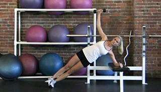 side plank twist on bench - step 1