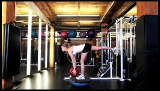 Picture of a female doing Single Leg Deadlift Press on Bosu Exercise
