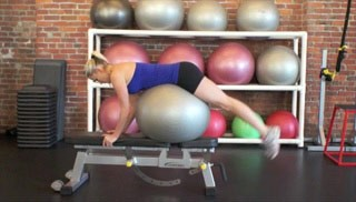 stability ball dolphin on bench - step 3