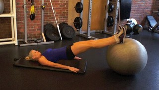 stability ball hamstring curls - step 1