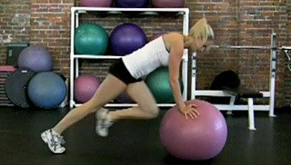 Picture of a female doing Stability Ball Mountain Climbers Exercise