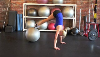 stability ball pike push-up - step 2