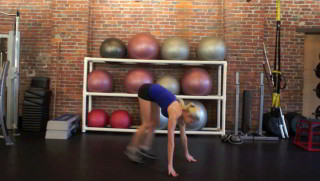 Picture of a female doing Standing Burpees Exercise