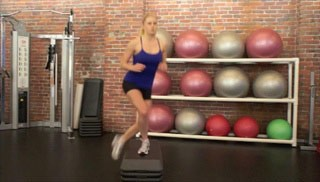 Picture of a female doing Step Overs on Aerobic Steps Exercise