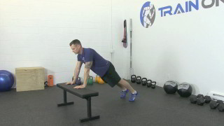 bench plank to push-up - step 1