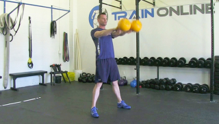 Double Kettlebell Swing exercise for men