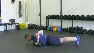 dumbbell burpee press - step 1