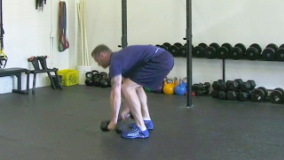 dumbbell burpee press - step 2