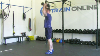 dumbbell burpee press - step 3