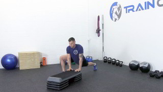 dynamic hip mobility on steps - step 3