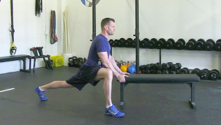 hip flexor stretch on bench - step 2