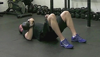 double kettlebell floor press - step 1
