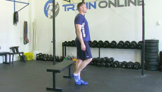 single leg sit stand on bench - step 1