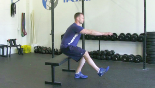 single leg sit stand on bench - step 2