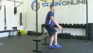 single leg sit stand on bench - step 3