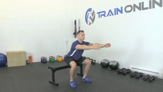 Picture of a male doing Sit Squat on Bench Exercise
