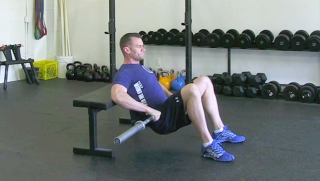 weighted glute bridge on bench - step 2