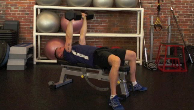 alternating dumbbell chest press - step 1