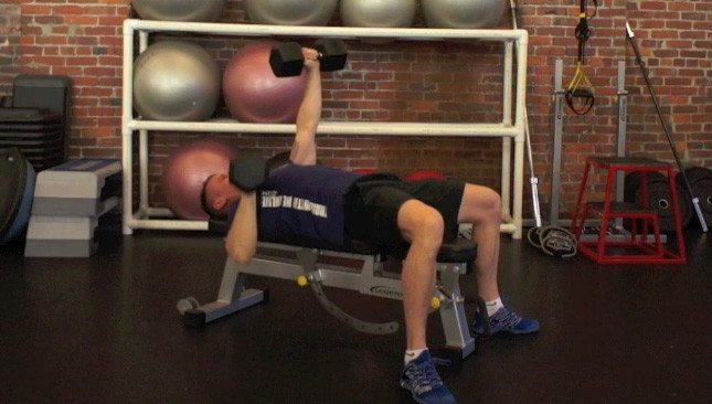 alternating dumbbell chest press - step 2