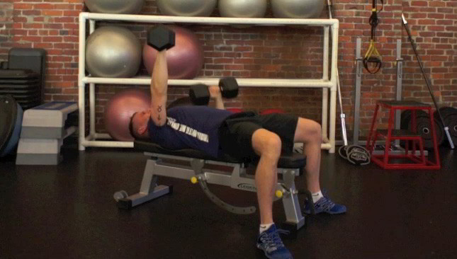 alternating dumbbell chest press - step 3