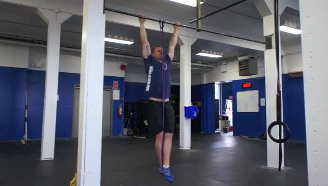 assisted band pull-ups - step 1