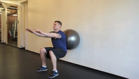 Picture of a male doing Ball Squats Exercise