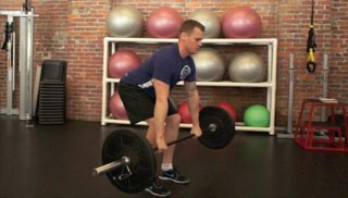 barbell bent over row - step 1