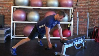 bench plank dumbbell row - step 2