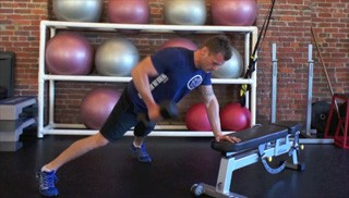 bench plank dumbbell row - step 3