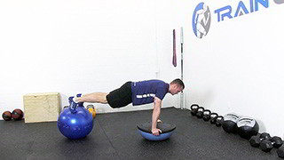 bosu ball push-up - step 1