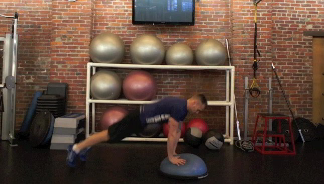 Picture of a male doing Bosu Burpee Jumps Exercise