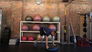 bosu burpee push-up - step 3