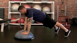 bosu plank to push-up - step 2