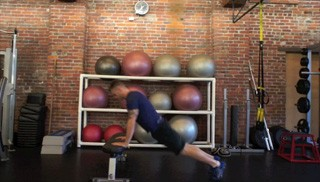 burpee jump up on bench - step 1