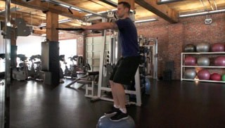 cable row on bosu - step 1