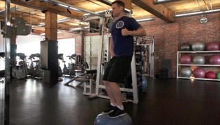 cable row on bosu - step 2