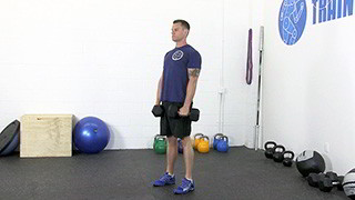 deadlift dumbbell row - step 1
