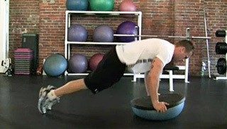 double bosu knee tucks - step 3
