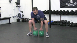 double kettlebell deadlift - step 1