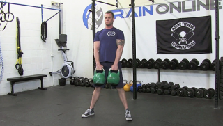 double kettlebell deadlift - step 2